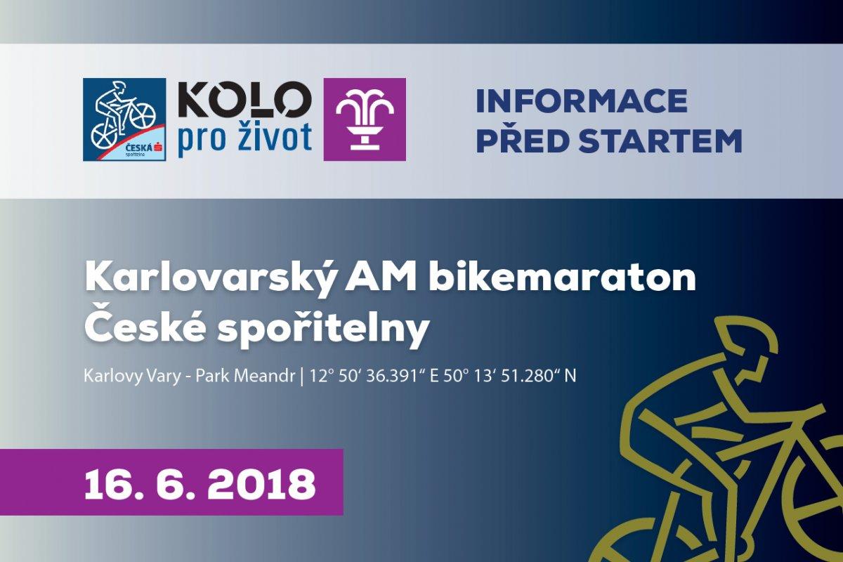 Aktuality před závodem Karlovarský AM bikemaraton České spořitelny