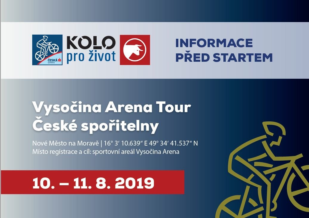 Aktuality před závodem Vysočina Arena Tour České spořitelny 2019